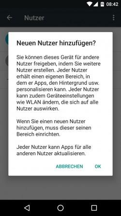 Ab Android 5, auch in Android 6 lassen sich ganze Benutzerprofile erstellen. Das funktioniert wesentlich besser als mit Android 4 (Screenshot: Thomas Joos).