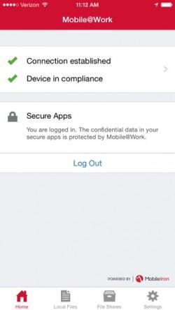 Zur Absicherung von iOS-Geräten wird auf iPhones/Tablets eine App für die Anbindung an MobileIron installiert (Screenshot: Mobile Iron).