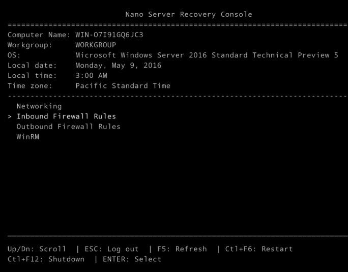 Mit der Recovery Console eines Nano-Servers können Administratoren grundlegende Einstellungen ändern und Informationen anzeigen (Screenshot: Thomas Joos).