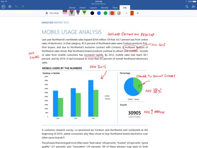 Wer Office-Dokumente auf dem iPad Pro mit handschriftlichen Notizen versehen will, benötigt zwingend ein kostenpflichtiges Office-365-Abo (Bild: Microsoft).