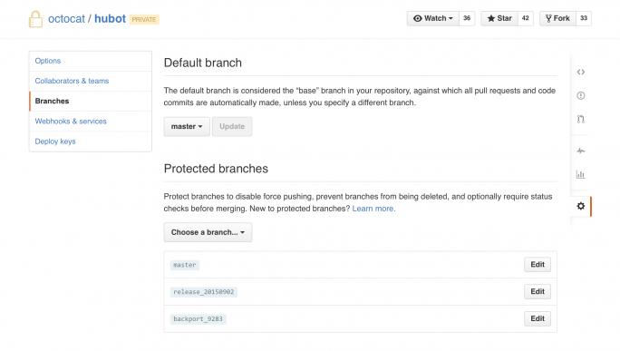 Protected Branches in einem GitHub-Projekt (Bild: GitHub)