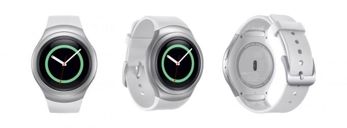 Die Gear S2 wird in Silber mit weißem Armband sowie in Dunkelgrau erhältlich sein (Bild: Samsung).