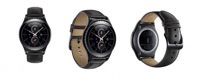 Die Gear S2 Classic kommt in Schwarz mit passendem Lederarmband auf den Markt (Bild: Samsung).