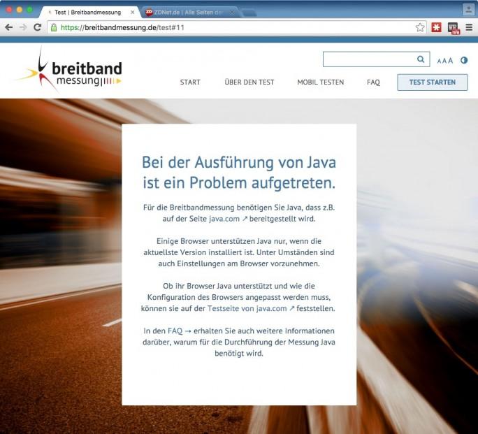 Breitbandmessung: Java ist erforderlich (Screenshot: ZDNet.de)