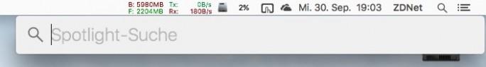 Das Spotlight-Suchfenster lässt sich frei positionieren (Screenshot: ZDNet.de)