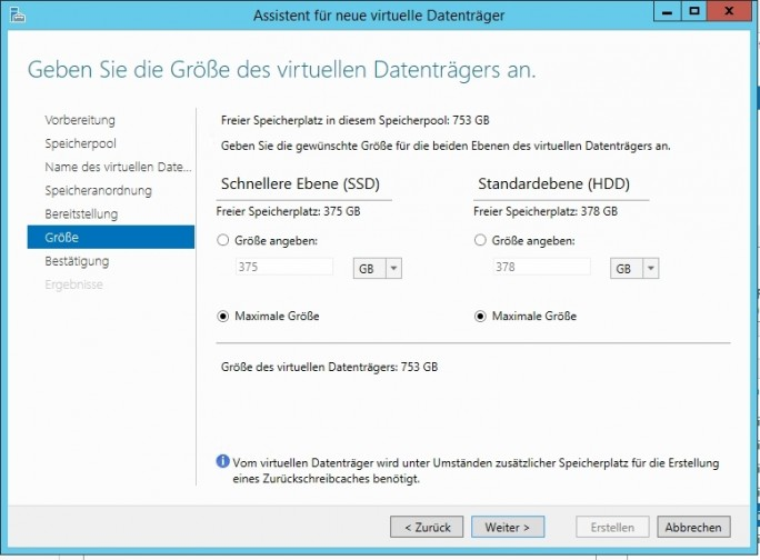 Ab Windows Server 2012 R2 können Unternehmen HDD und SSD miteinander vermischen, um optimale Leistung im Storage Space zu gewährleisten (Screenshot: Thomas Joos).