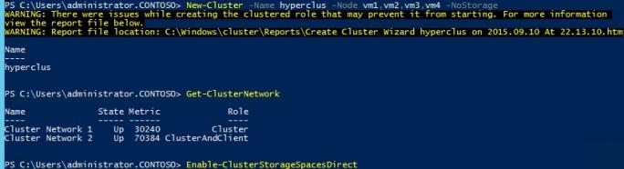 In der PowerShell werden der Cluster erstellt und Storage Spaces Direct aktiviert (Screenshot: Thomas Joos).
