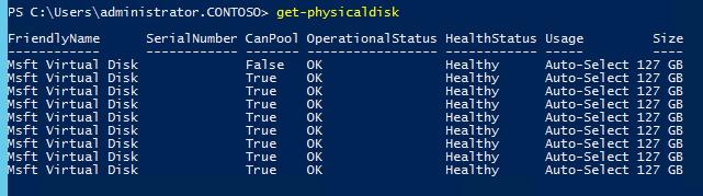 Im Storage Spaces Direct-Cluster werden auf den Clusterknoten die Festplatten aller angebundenen Datenträger angezeigt (Screenshot: Thomas Joos).