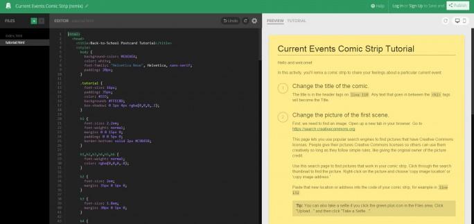 Tutorial für die Benutztung eines in Thimble enthaltenen Templates (Screenshot: ZDNet)