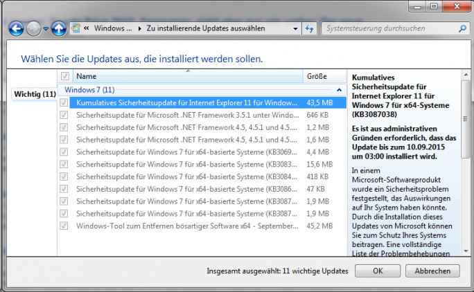 Windows-Update (Screenshot: ZDNet.de)