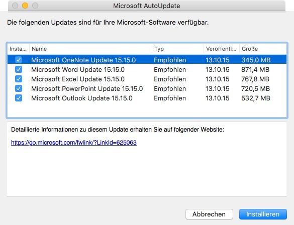 Office-Update für OS X (Screenshot: ZDNet.de)