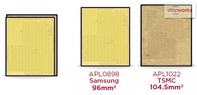 Chipworks: TSMC und Samsung fertigen die CPUs für die iPhone-6S-Modelle (Bild: Chipworks)