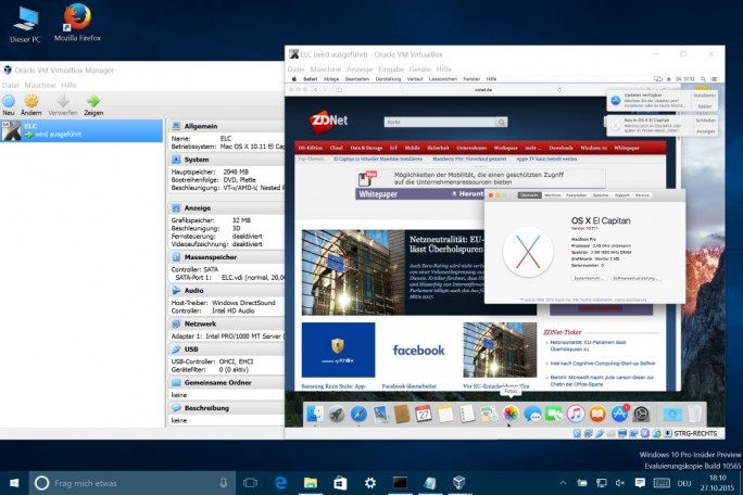 El Capitan Windows Virtualbox (Screenshot: ZDNet.de)