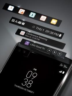 Das Zusatzdisplay des LG V10 zeigt gesondert vom Hauptbildschirm nützliche Informationen an (Bild: LG).