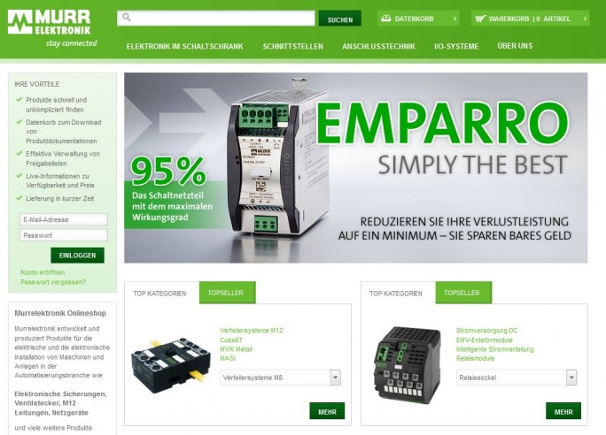 Murrelektronik B2B-Onlineshop (Screenshot: ZDNet.de