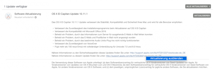OS-X-Update ausblenden (Screenshot: ZDNet.de)