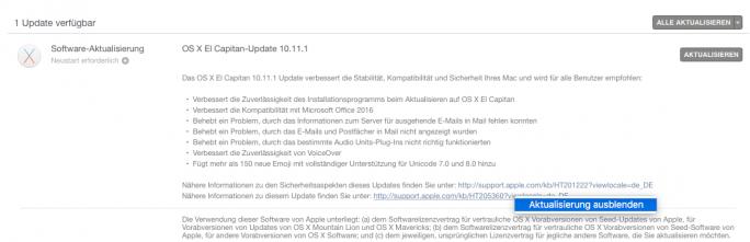 OS-X-Update ausblenden (Screenshot: ZDNet.de)