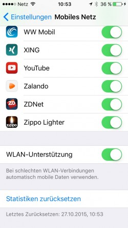 WLAN-Assist-Unterstützung iOS 9.1 iPhone 5S (Screenshot: ZDNet.de)