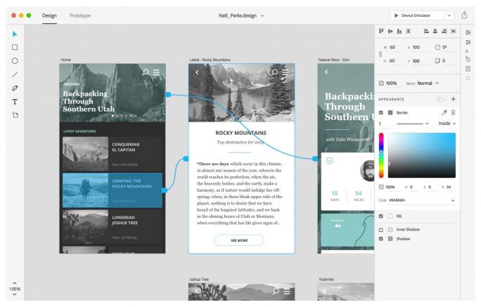 Seitendesign mit Project Comet (Screenshot: Adobe)
