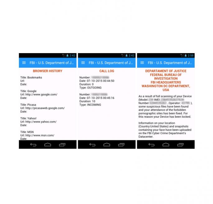 Das Menü des Sperrbildschirm zeigt Details aus dem Browserverlauf und der Anrufliste sowie eine angebliche Warnung des FBI (Screenshot: Symantec).
