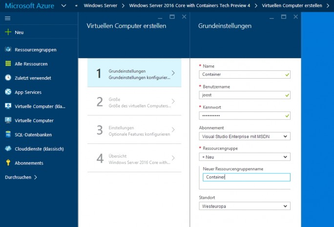 Windows Server Container lassen sich auch in Microsoft Azure nutzen (Screenshot: Thomas Joos).