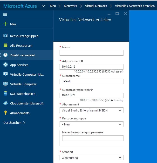 Virtuelle Netzwerke erlauben eine umfassende Steuerung des Netzwerkverkehrs in Microsoft Azure (Screenshot: Thomas Joos).