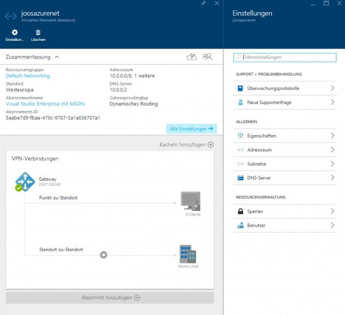 Virtuelle Netzwerke lassen sich in der Weboberfläche von Microsoft Azure in sekundenschnelle erstellen. Alle Subnetze werden automatisch untereinander geroutet (Screenshot: Thomas Joos).