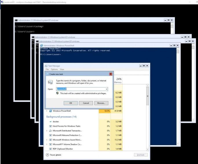 In Remotedesktop-Sitzungen zu Microsoft Azure lassen sich für Container-Hosts mehrere Sitzungen mit der Eingabeaufforderung und der PowerShell öffnen (Screenshot: Thomas Joos).