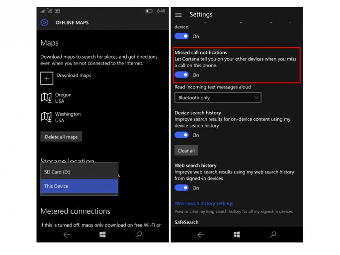 Build 10572 erlaubt die Speicherung von Offline-Karten auf SD-Karten und informiert per Cortana auf anderen Geräten über verpasste Anrufe (Bild: Microsoft).