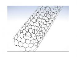 Schematische Darstellung einer Kohlenstoffnanoröhre (Bild: IBM).