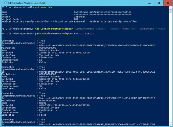 In der PowerShell lassen sich sehr schnell verschiedene Netzwerkadapter erstellen, Containern zuweisen und auch gleich verbinden (Screenshot: Thomas Joos).