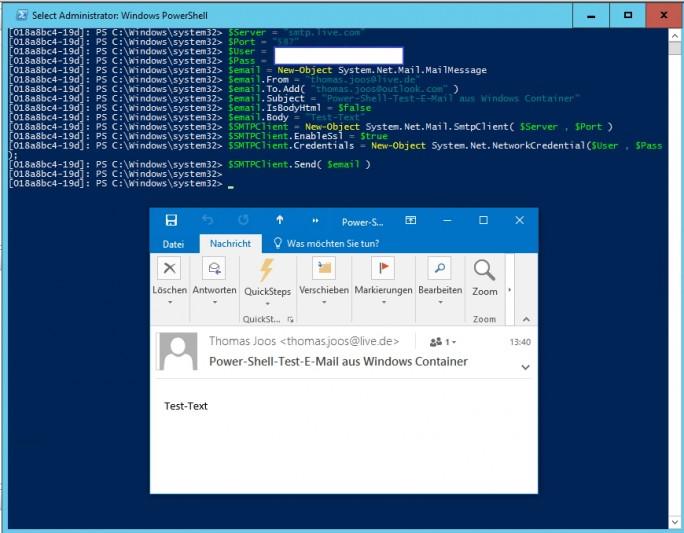 Aus Windows Server Containern heraus lassen sich weitreichende Aktionen durchführen, zum Beispiel E-Mails versenden (Screenshot: Thomas Joos).