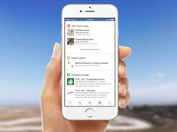 Facebook informiert im Tab Benachrichtigungen nun auch über lokale Events, Sportereignisse und das Fernsehprogramm (Bild: Facebook).