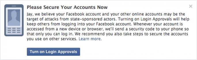 Mit diesem Hinweis warnt Facebook seine Nutzer künftig vor staatlichen Hackerangriffen (Bild: Facebook).