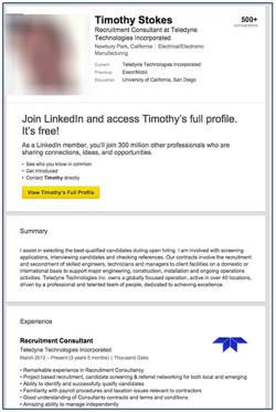 Falsches LinkedIn-Profil eines Mitarbeiters der Teledyne-Personalabteilung (Screenshot: Dell Secureworks)