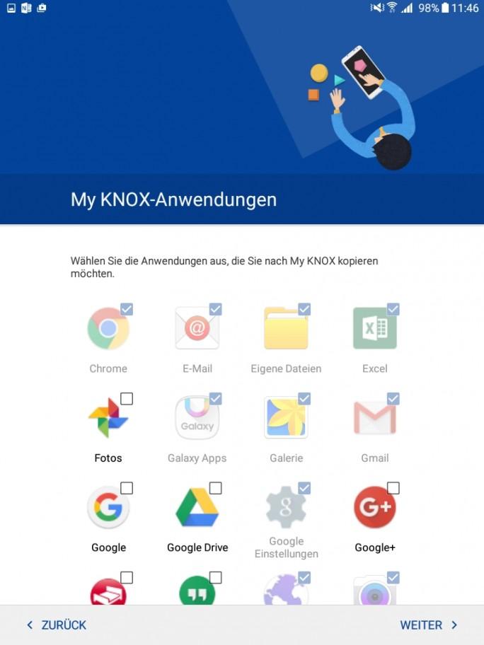 Im Rahmen der Einrichtung auf dem Samsung Tablet legen Anwender auch die zu sichernden Apps auf dem Tablet fest (Screenshot: Thomas Joos).