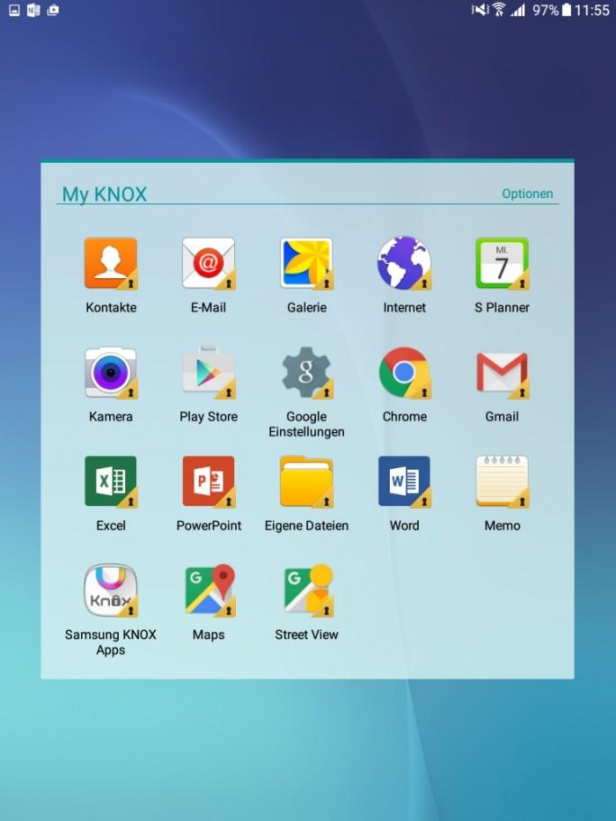 Nach der Einrichtung von Knox lassen sich bereits installierte Apps absichern und im sicheren Knox-Modus verwenden (Screenshot: Thomas Joos).