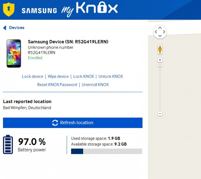 Im My Knox Portal können Anwender My Knox verwalten (Screenshot. Thomas Joos).