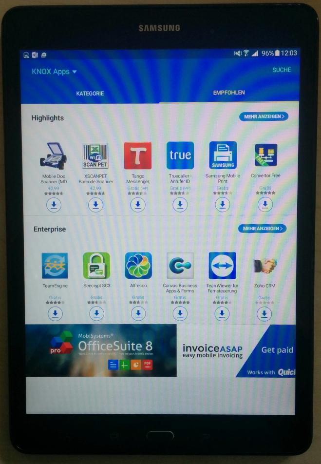 Aus den Samsung Knox Apps lassen sich schnell und einfach Apps herunterladen und in den gesicherten Bereich des Galaxy Tablets installieren (Screenshot: Thomas Joos).