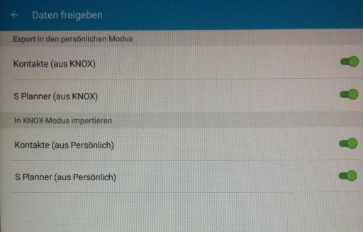 In Samsung Knox erlaubt den Datenaustausch zwischen persönlichen Apps und Apps im App-Container (Screenshot: Thomas Joos).