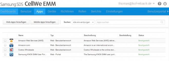 Mit Webportal von Samsung Knox können Administratoren die Apps für Anwender verwalten (Screenshot: Thomas Joos).