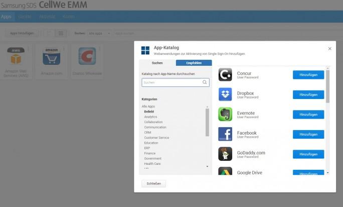 Im Webportal von Samsung Knox können Anwender Knox-Apps hinzufügen und auf ihrem Tablet installieren (Screenshot: Thomas Joos).