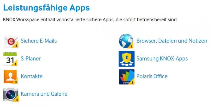 Samsung Knox Workspace bietet umfassenden Schutz für Tablets im Unternehmen sowie einige Standard-Apps, um die wichtigsten Funktionen abzudecken (Screenshot: Samsung).