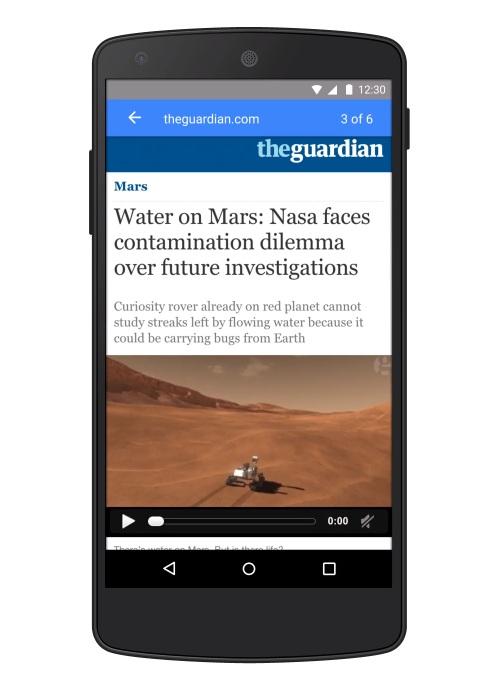 Mit AMP erstellter Guardian-Artikel (Bild: Google)