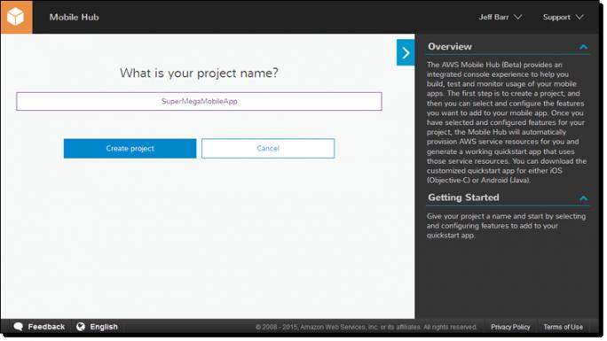 AWS Mobile Hub erlaubt die Auswahl und Konfiguration von Features für eine App (Bild: Amazon).