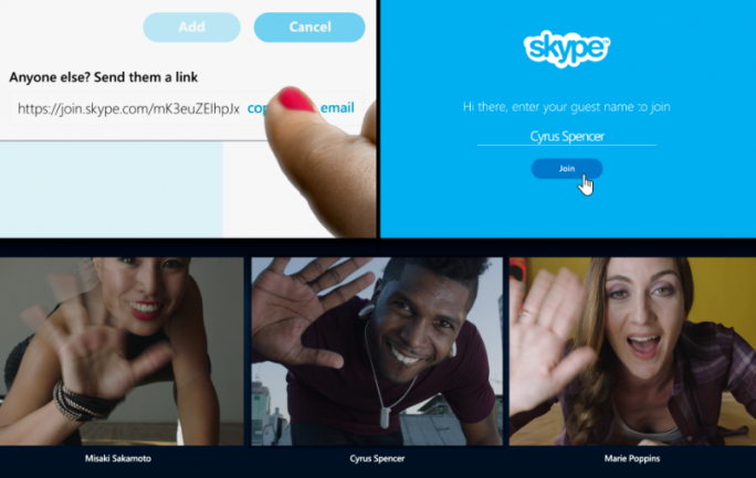 Andere Nutzer lassen sich künftig per Link zu einer Skype-Kommunikation einladen (Bild: Microsoft).