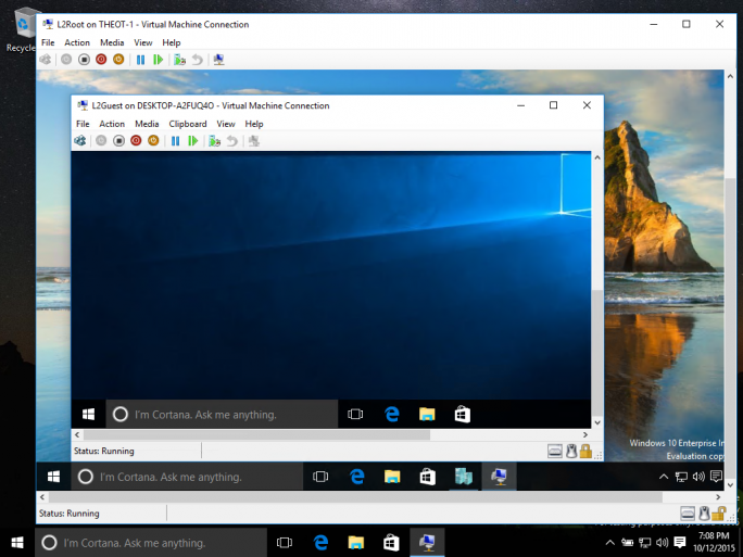 Nested Virtualization erlaubt es, innerhalb einer virtuellen Maschine eine weitere virtuelle Maschine auszuführen (Bild: Microsoft).