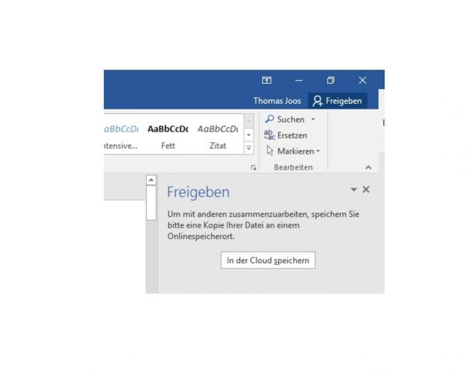 """Über die neue Schaltfläche """"Freigeben"""" können Anwender ein Dokument in der Cloud speichern und freigeben (Screenshot: Thomas Joos)."""