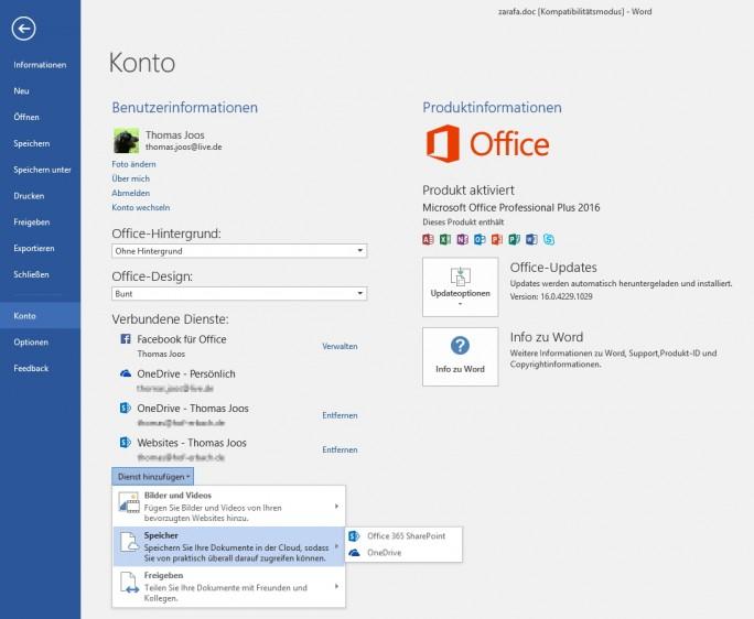In den Office 2016-Einstellungen lassen sich OneDrive- und OneDrive für Business-Konten angeben (Screenshot: Thomas Joos).