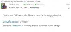 Anwender erhalten eine E-Mail, wenn sie ein Dokument öffnen können, das ein anderer Anwender freigegeben hat (Screenshot: Thomas Joos).